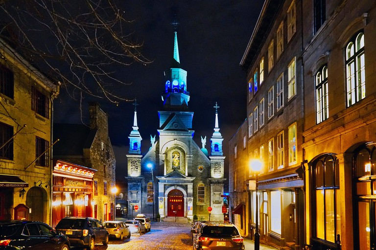 Montreal,Canada,3 December,2018.Notre-Dame-de Bon-Secours chapel at night.Credit:Mario Beauregard/Alamy Live News