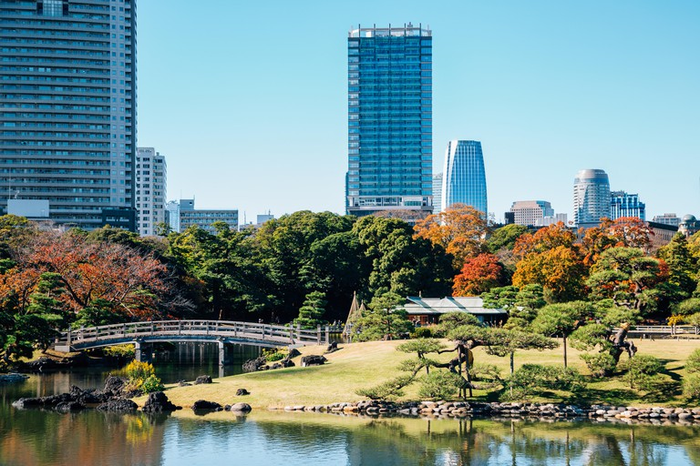 Hamarikyu Gardens and modern buildings at autumn in Tokyo, Japan