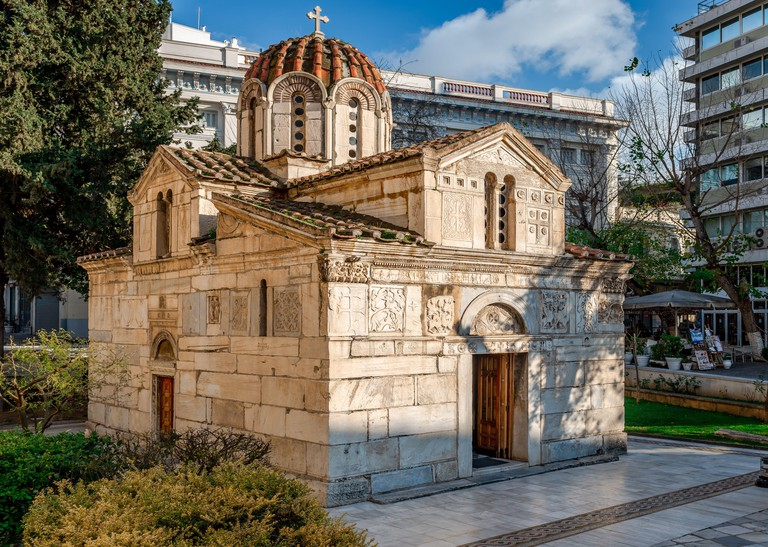 Athens / Greece - February 29 2020: The Little Metropolis (formally the Church of St Eleutherios), a Byzantine-era church located at the Mitropoleos s