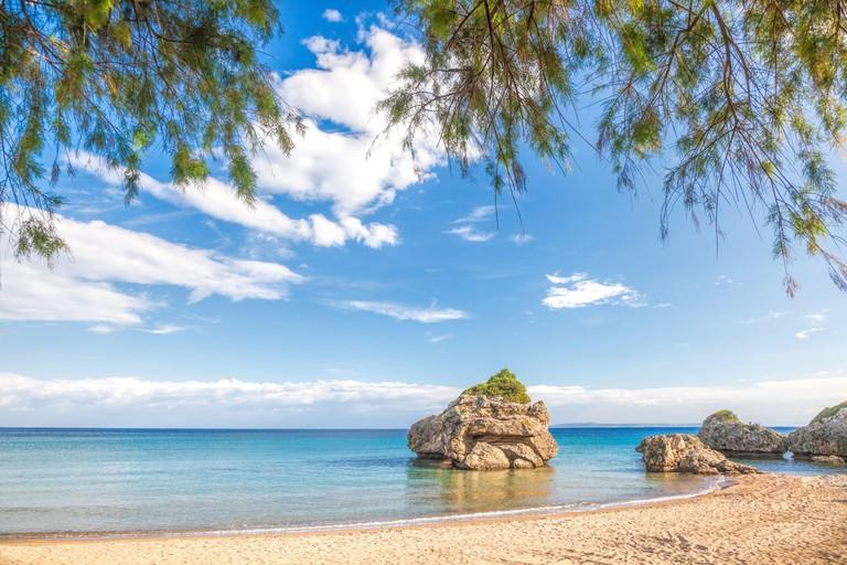 Panorama of Porto Zorro beach with azure sky on Zakynthos island, Greece