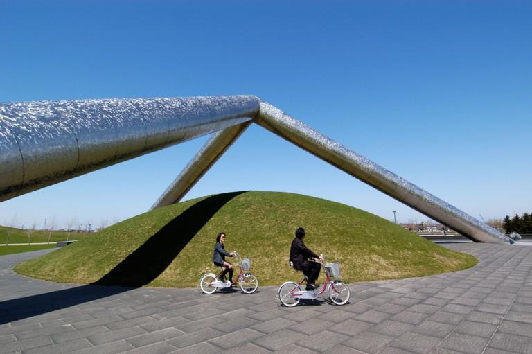 Tetra Mound Sculpture in Moerenuma Park, Sapporo, Japan.