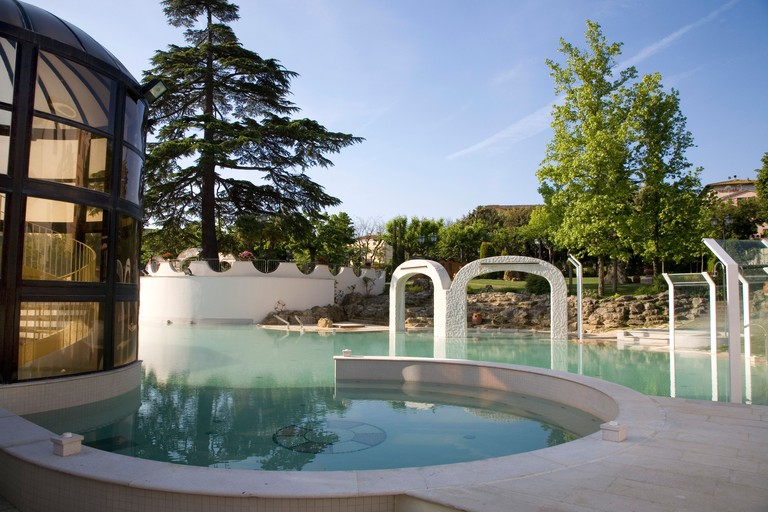 Pool of bicarbonate-sulphate-calcic water, Well-being and thermal resort in Casciana Terme, Tuscany, Italy.