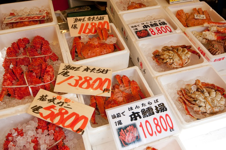 Central Wholesale seafood Market, in Sapporo, Japan.