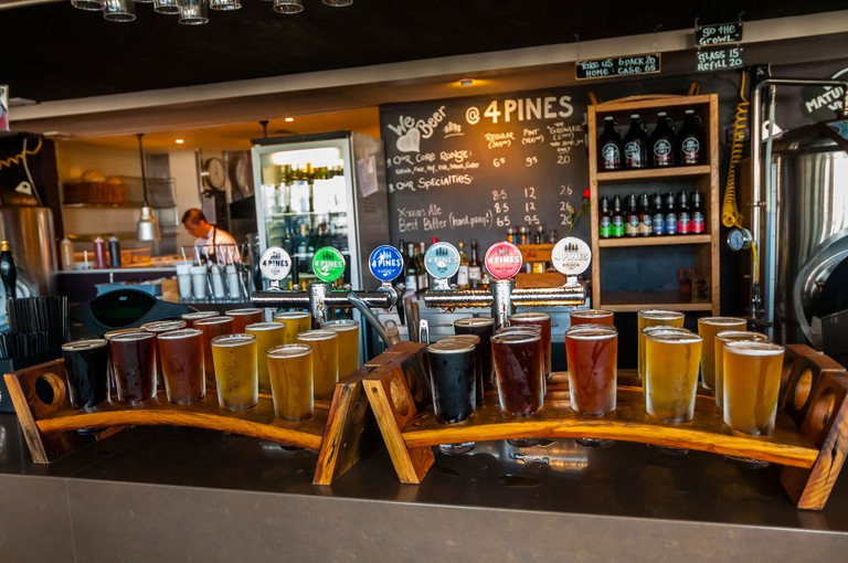 Samplers of (left to right) Stout, ESB, Pale Ale, Kolsch and Hefewiezen at the 4 Pine Brewing Company, Manly, Sydney, New South Wales, Australia