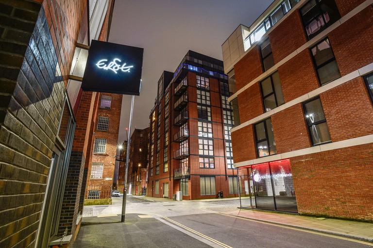 An evening view of Erst restaurant, Ancoats, Manchester.