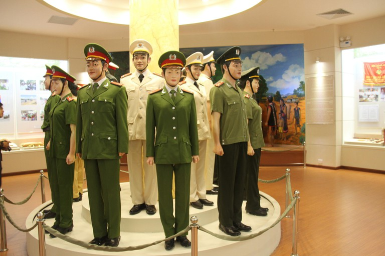 Hanoi, Vietnam. 22nd Aug, 2015. Photo taken on Aug. 22, 2015 shows the people's public security force's uniforms in various times and positions exihibted in Vietnamese People's Public Security Museum in Hanoi, Vietnam, Aug. 22, 2015. The museum, with more