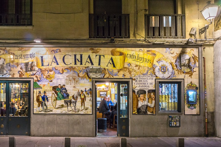 A tapas bar, La Chata, heavily decorated with tiles in the calle de la Cava Baja in the La Latina quarter, central Madrid, Spain