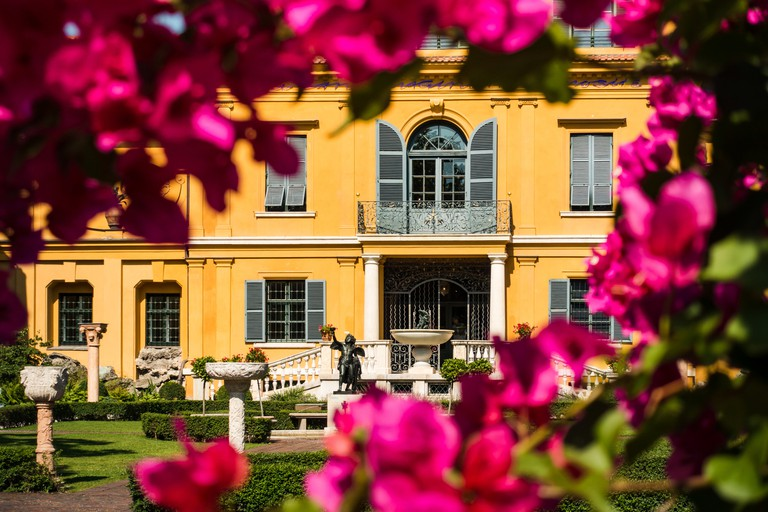 Munich, Germany: The Lenbachhaus Museum, View from the Garden with Flowers