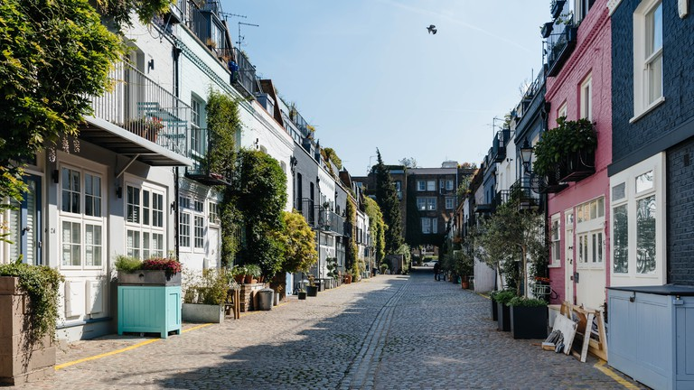 The picturesque St Lukes Mews alley near Portobello Road in Notting Hill, London