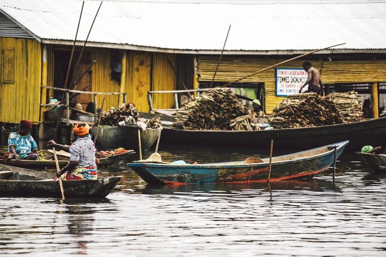 Village market on the water. Ganvie, Benin.