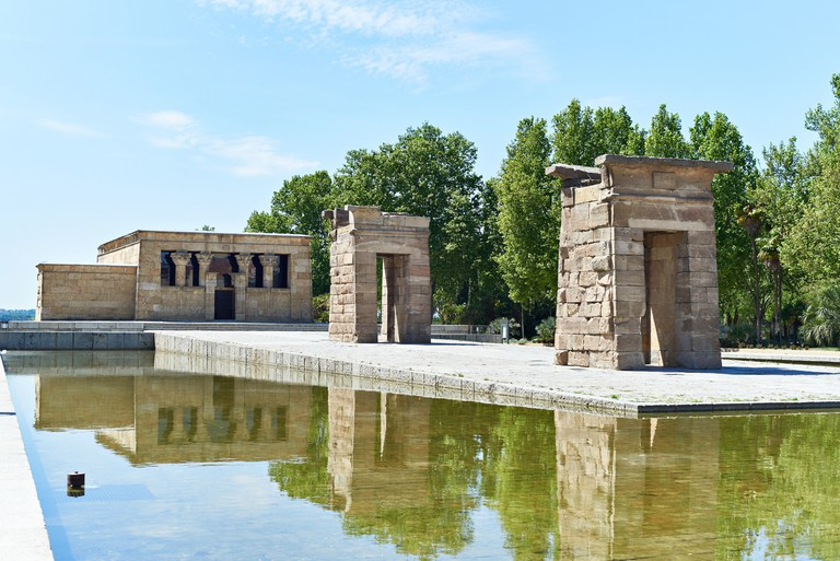 Ancient Egyptian temple of Debod in Madrid