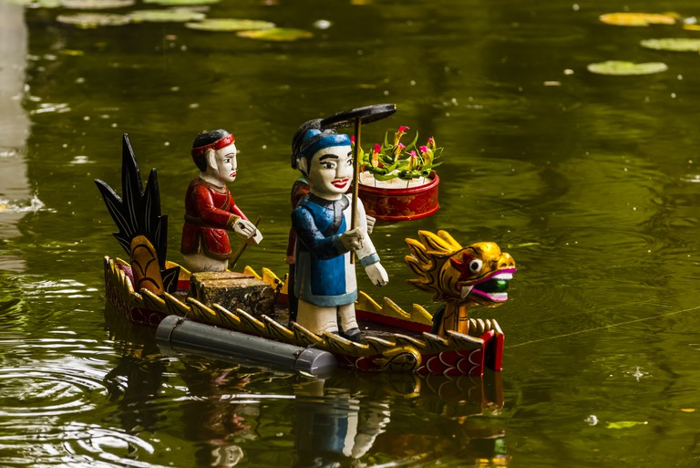 Traditional water puppet show at the Performing Arts Revival Theatre at the Vietnam Museum of Ethnology. Vietnamese water puppetry was originated in the villages of the Red River Delta area of northern Vietnam a thousand years ago. Hanoi, northern Vietnam