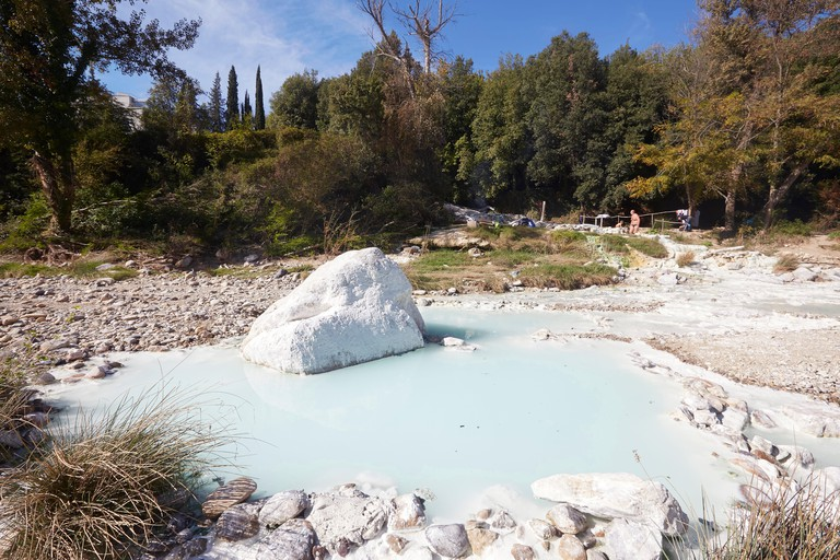 Bagni di Petriolo, geothermal hot springs on the River Farma, district of Monticiano, Province of Siena, Tuscany, Italy