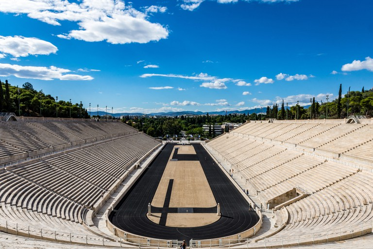 Panathenaic stadium with clouds in the sky, Athens, Greece