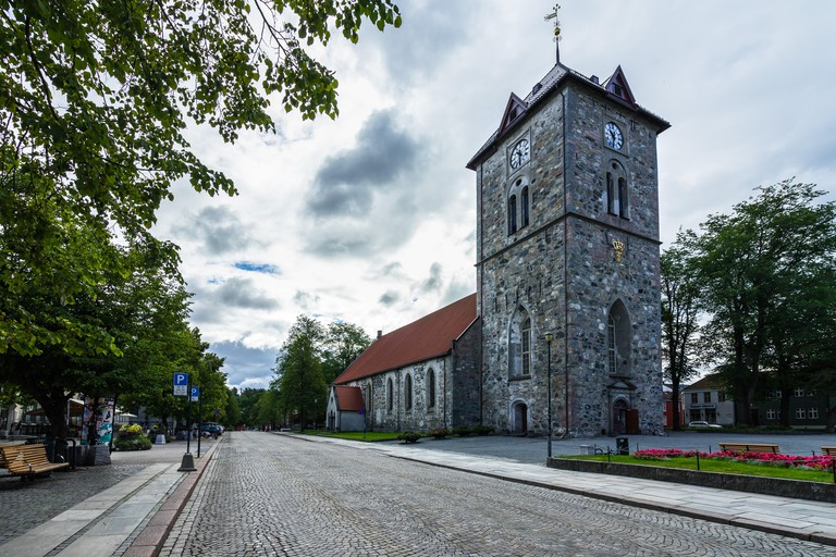 Bell tower of Var Frue Kirke (Our Lady's Lutheran church) in  Trondheim city center, Norway