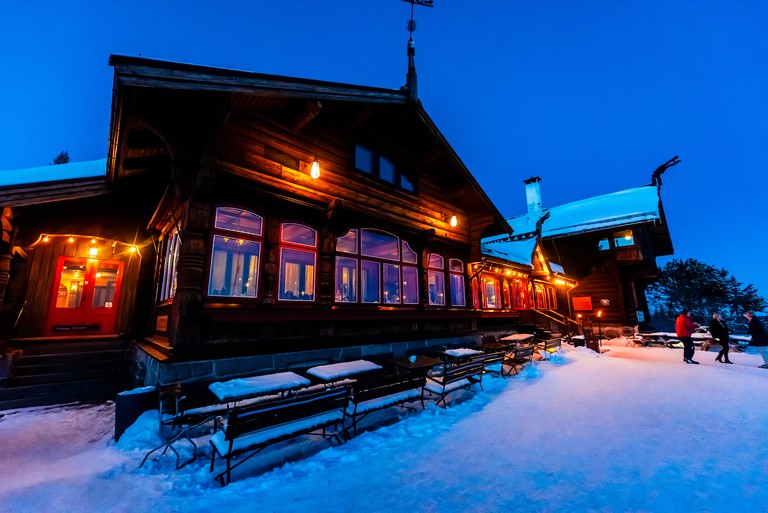 Frognerseteren, a Restaurant (Finstua), a cafe and private dining facilities at the top of Holmenkollen, with panoramic views of Oslo and the Oslo Fjo