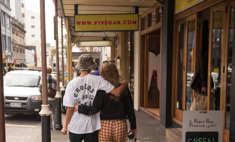 Street scene on Cuba Street in central Wellington, New Zealand.
