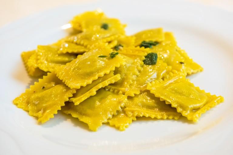 Handmade agnolotti, type of ravioli, typical Italian egg pasta from Piedmont. Image shot 07/2016. Exact date unknown.