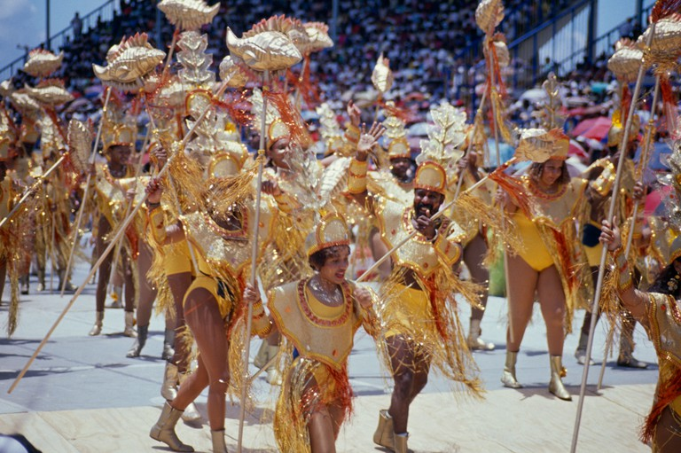 WEST INDIES Caribbean Barbados Festivals Crop Over sugar cane harvest festival Grand Kadooment carnival paraders in costumes