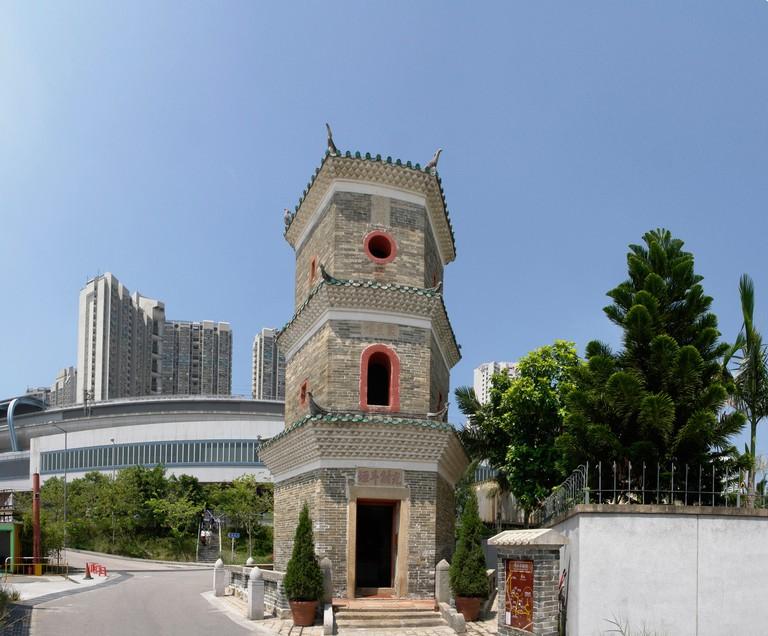 China Hong Kong Yuen Long Ping Shan heritage trail Tsui Sing Lau pagoda next to the Tin Shui Wai public housing estate