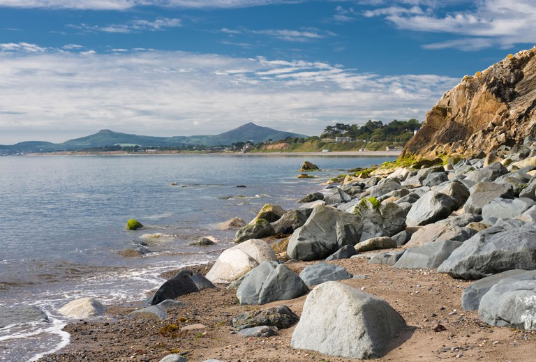 Killiney Bay, Dublin, Ireland, from White Rock Beach, with Wicklow Mountains in background