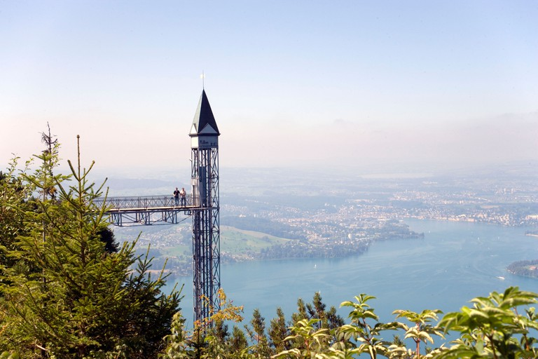 Hammetschwand Elevator (153 m, highest exterior elevator of Europe), Buergenstock (1128 m), Buergenstock, Canton Nidwalden, Swit