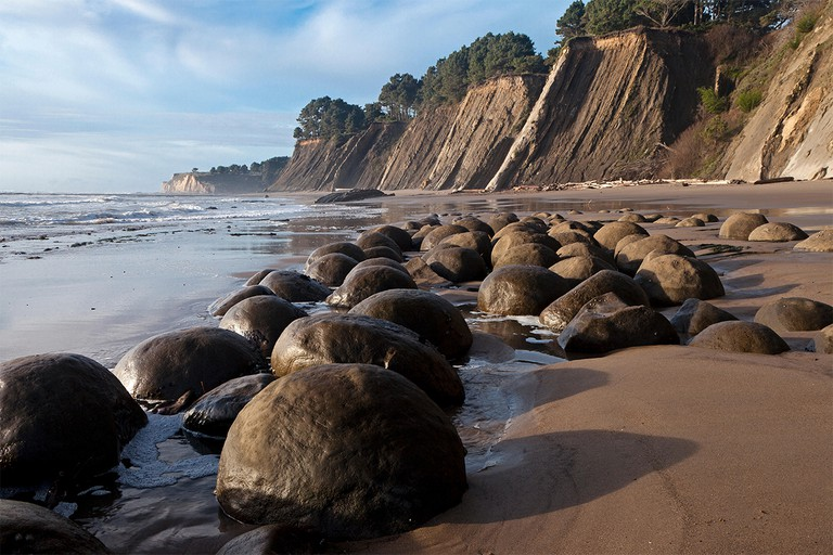 Spherical sandstone concretions on Bowling Ball Beach lie within Schooner Gulch State Beach along California's Mendocino coast.. Image shot 12/2014. Exact date unknown.