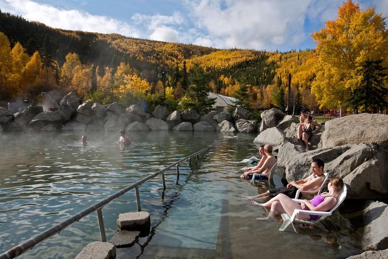 People soaking in the outdoor pool.Chena Hot Springs.Near Fairbanks.Alaska.USA