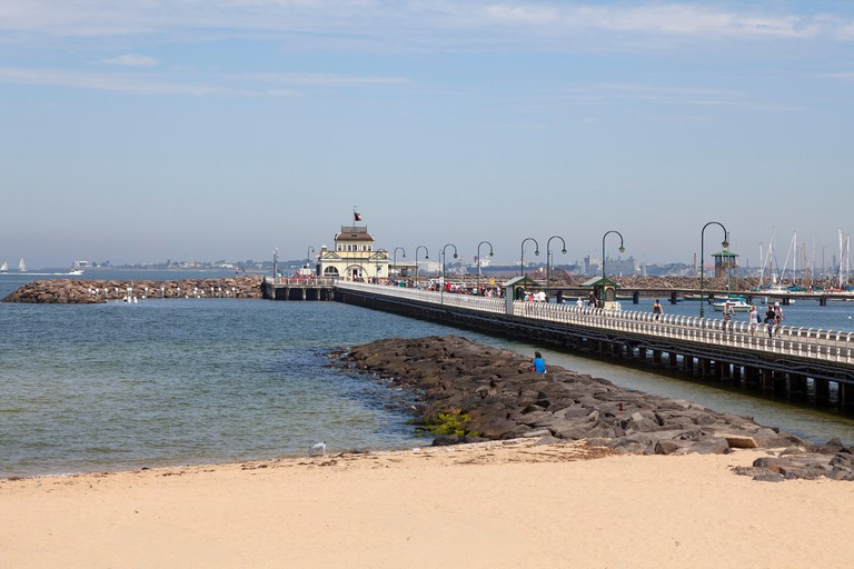 Port Phillip Bay harbour in Melbourne, Australia
