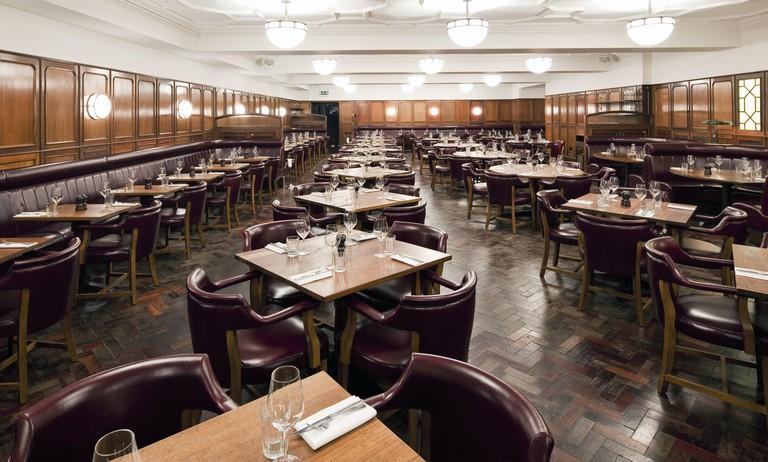 Interior of Steak House in Hawksmoor Guildhall, London, UK