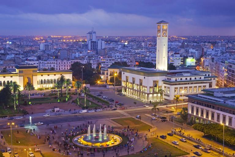 Place Mohammed V and city skyline, dusk