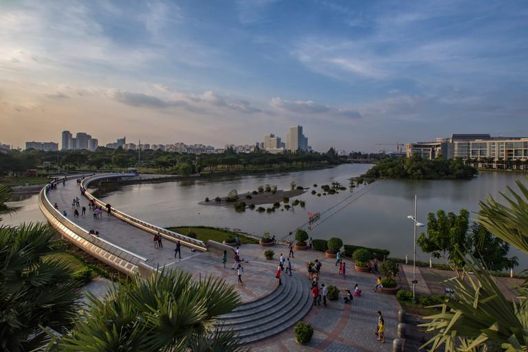 PHU MY HUNG, HO CHI MINH – 2017: Starlight bridge in the night with beautiful silkroad light