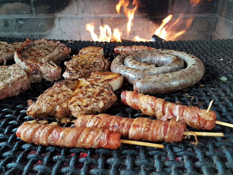 Close-Up Of Meat On Barbecue Grill South Africa