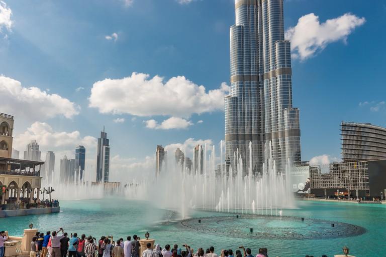 Burj Khalifa and fountains on the Burj Khalifa Lake. Image shot 06/2016. Exact date unknown.