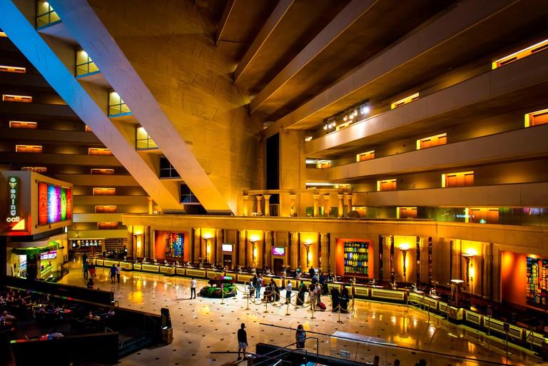 Las Vegas, Nevada, USA. Check in desk inside Luxor hotel.