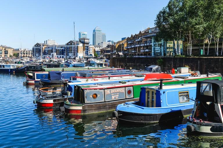 The Limehouse Basin in London, England United Kingdom UK