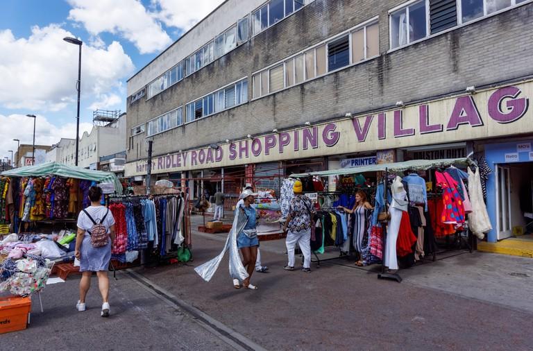 Ridley Road market in Dalston, London England United Kingdom UK