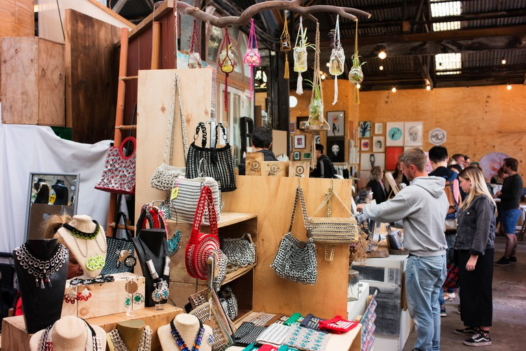 Artists' stalls and shoppers at The Rose Street Artists' Market, Melbourne