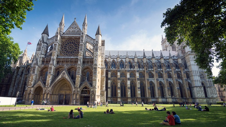 LONDON - JUNE 6, 2014: Westminster Abbey, is a large, mainly Gothic church,It is the traditional place of coronation and burial. The famous Westminster Abbey is among the oldest churches in London