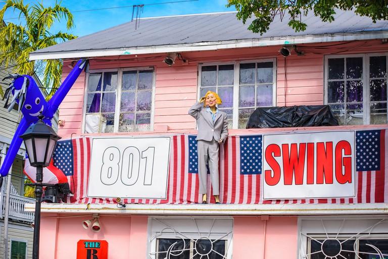 2016 Fantasy Fest decorations at 801 Bourbon Bar Key West, Florida. Theme political voodoo & ballot box barbarians