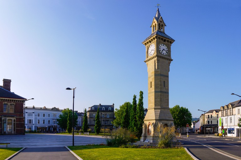 The Prince Albert memorial clock at Barnstaple, Devon, England.