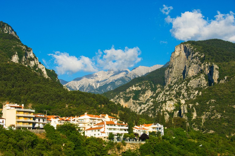 Mount Olympus and the village of Litohoro Greece.