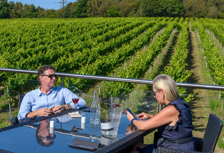 A middle aged couple enjoying wine at the Bolney Wine Estate - Vineyard - Bolney, Haywards Heath, West Sussex, England, UK