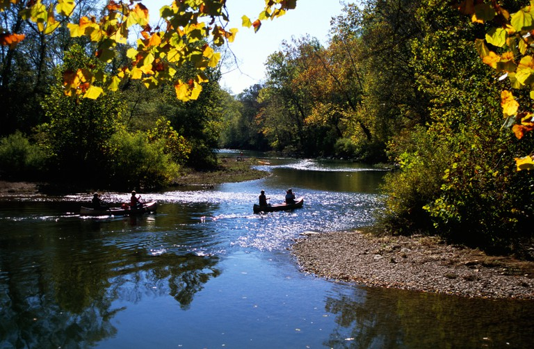 Canoes on the Harpeth River, Tennessee