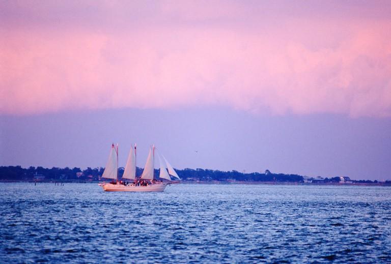 Large three mast schooner sailboat; Charleston Harbor; Charleston; South Carolina; USA