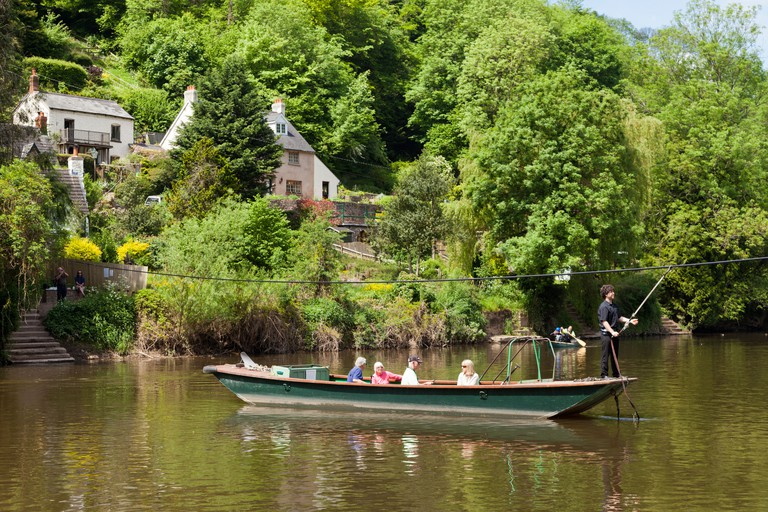 The hand-pulled cable ferry across the River Wye at Symonds Yat, Herefordshire UK