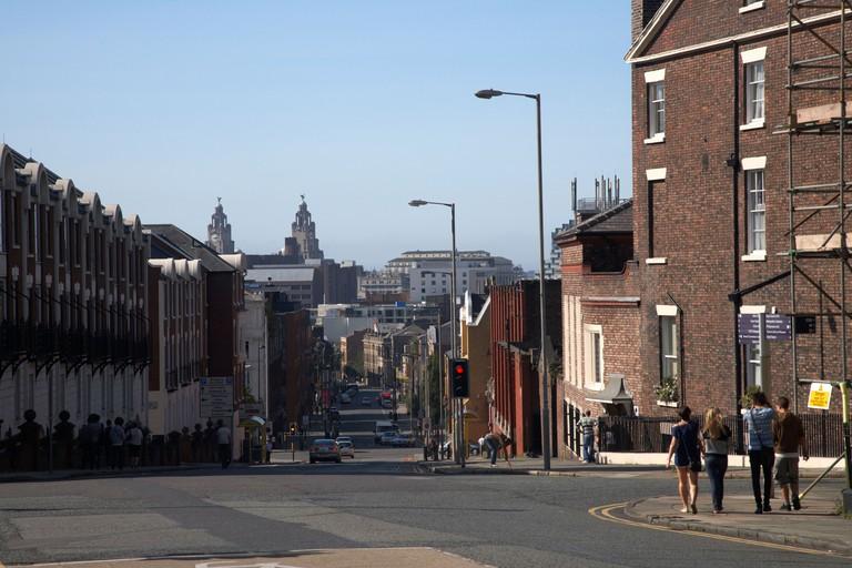 looking down duke street to liverpool city centre merseyside england uk