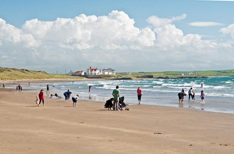 Rhosneigr Beach on Anglesey, North Wales on a sunny summer day in August