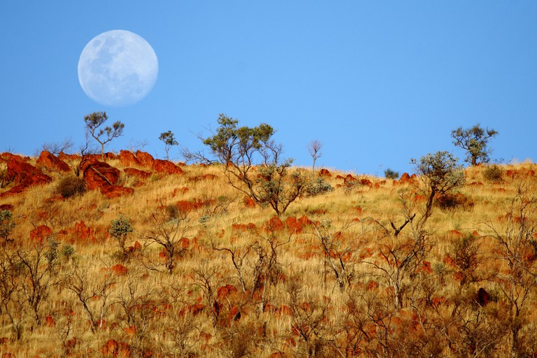 Moonrise over the Pilbara, Western Australia.