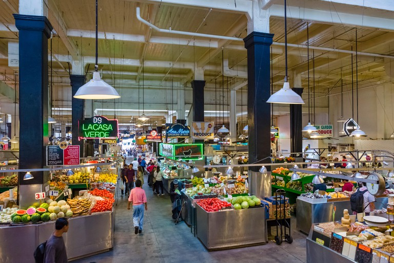 Grand Central Market on Broadway in downtown Los Angeles, California, USA